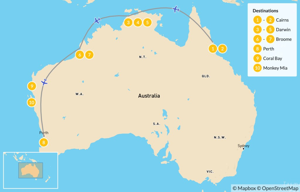 Map of Best of Northern Australia: Cairns, Darwin, Broome, & Perth - 10 Days