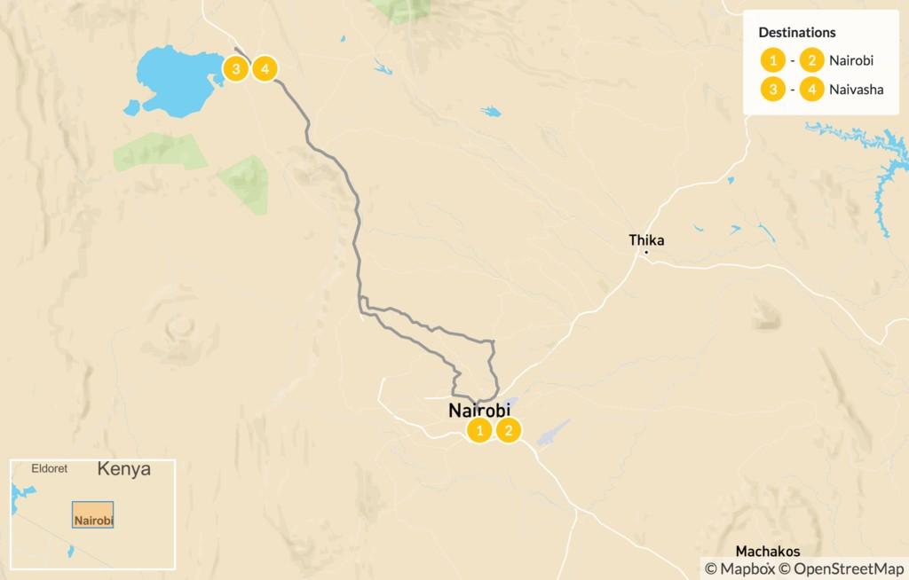Map of Kenya Coffee, Culture & Wildlife Tour - 5 Days