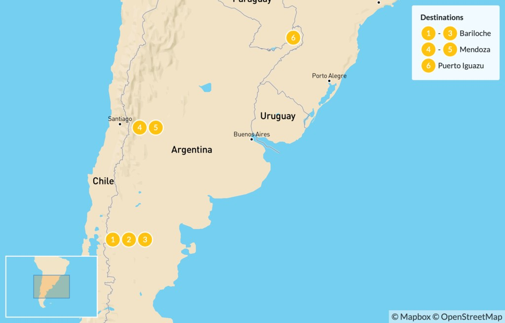 Map of Classic Argentina: Bariloche, Mendoza, & Iguazú - 7 Days