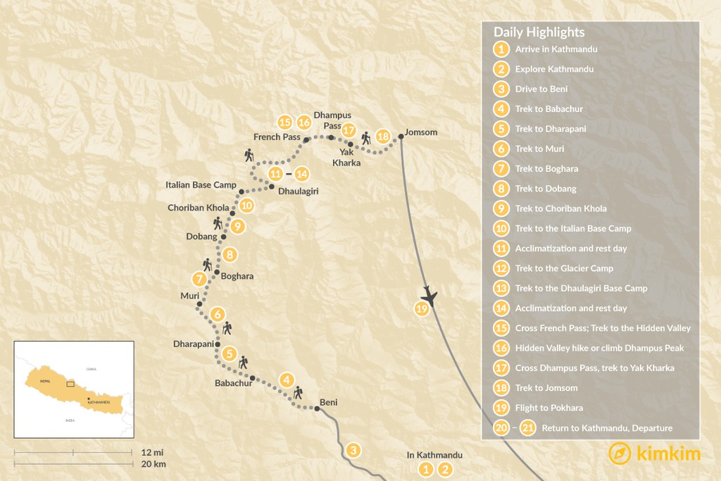 Map of Dhaulagiri Circuit Trek - 21 Days