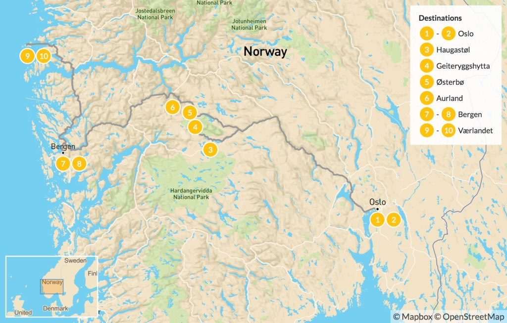 Map of Nordic Self-Guided Trek & Island Tour - 11 Days
