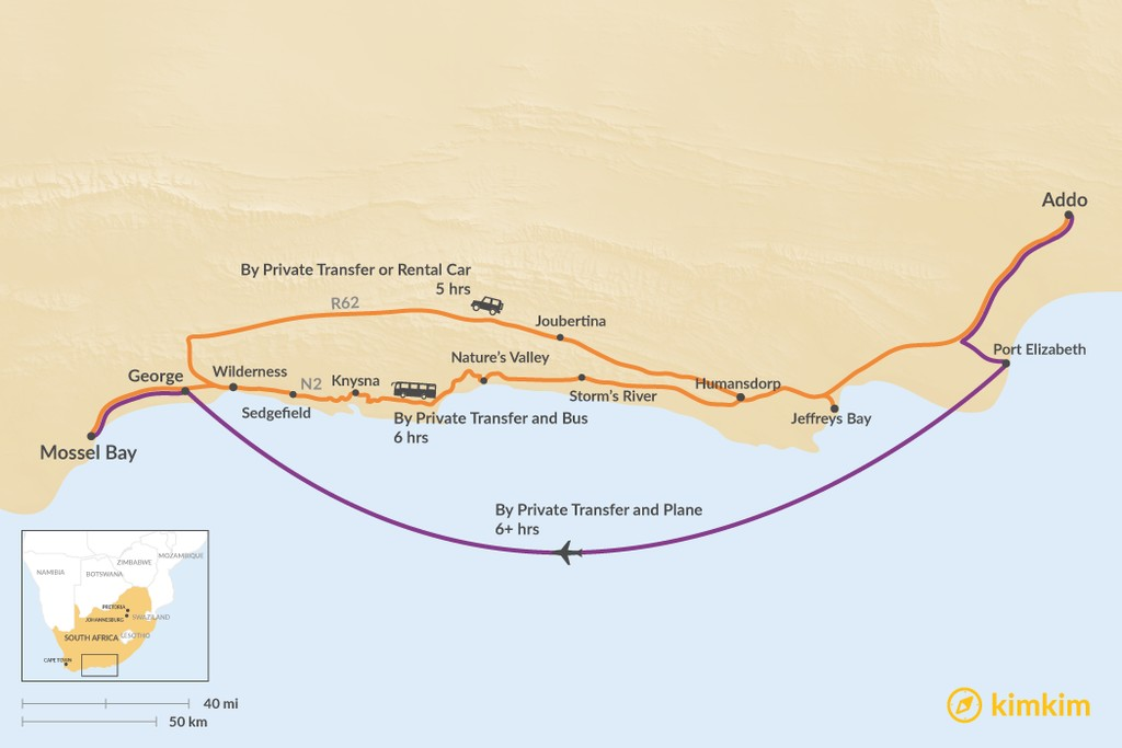 Map of How to Get from Addo to Mossel Bay