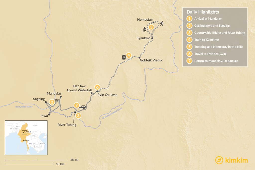 Map of Northern Myanmar Multisport Adventure - 7 Days