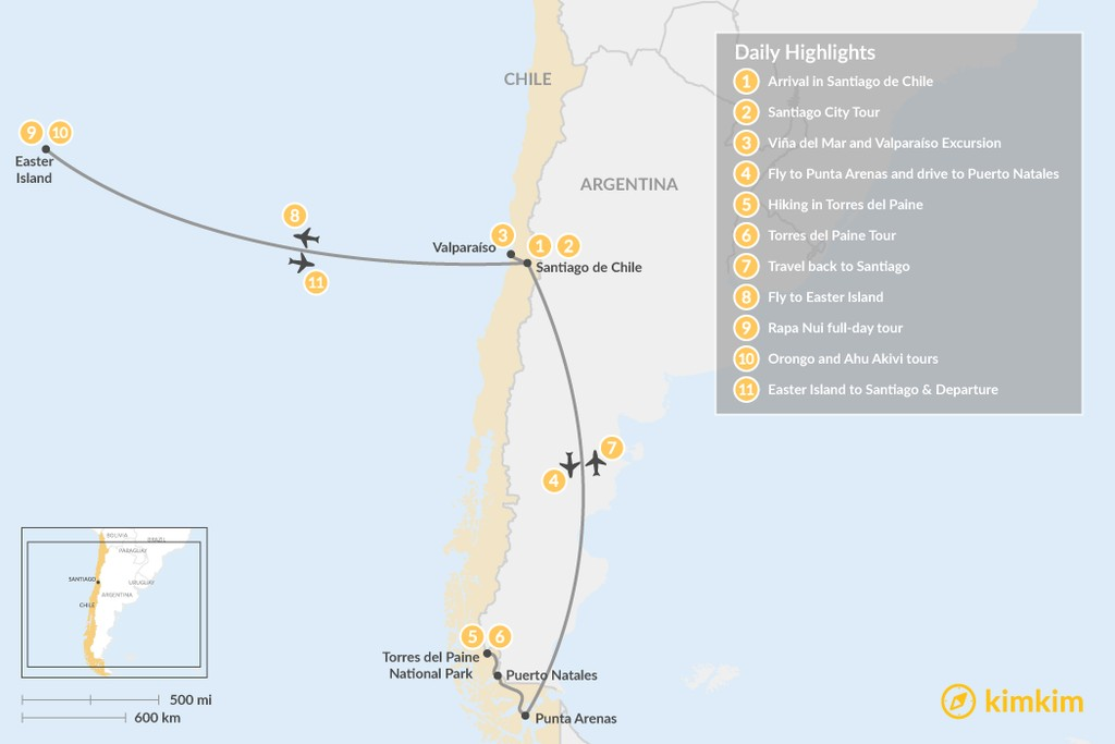 Map of Santiago, Torres del Paine, & Easter Island - 11 Days