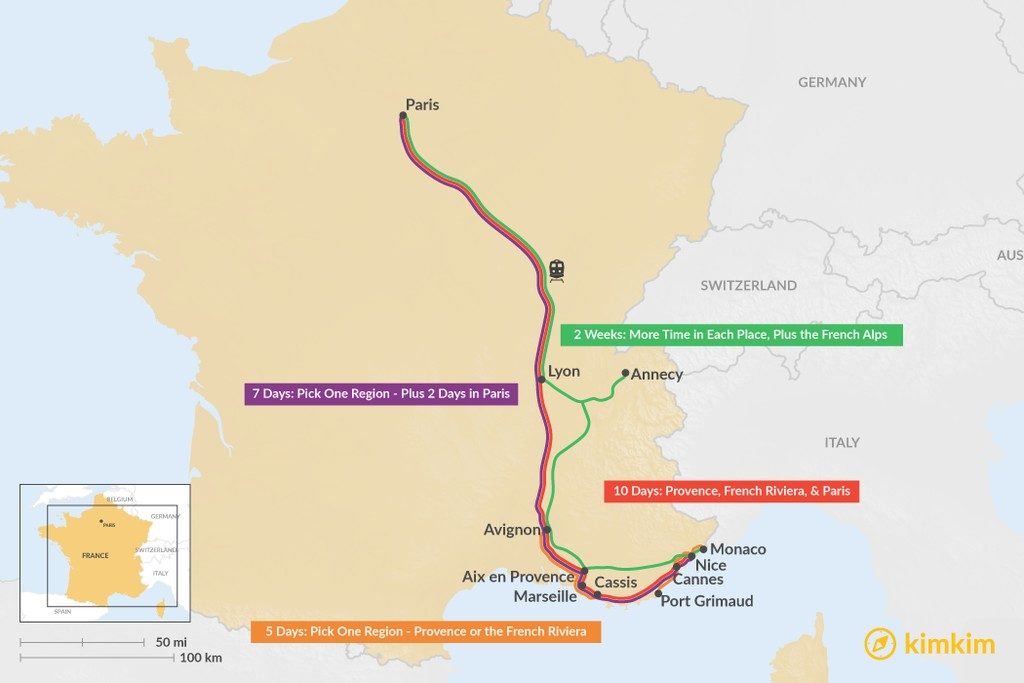 Map of Ultimate France Itineraries - 5, 7, 10, & 14 Days