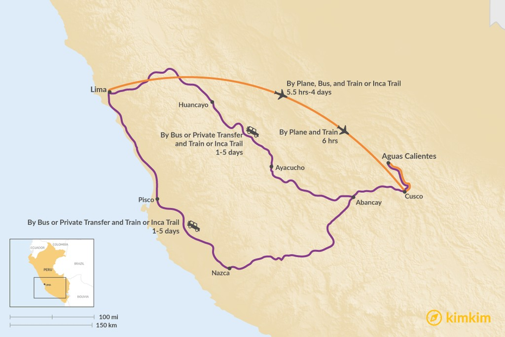 Map of How to Get from Lima to Aguas Calientes