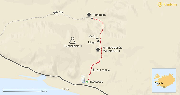 Map of Fimmvörðuháls Hike - The Ultimate Guide to one of Iceland's Best Day Hikes