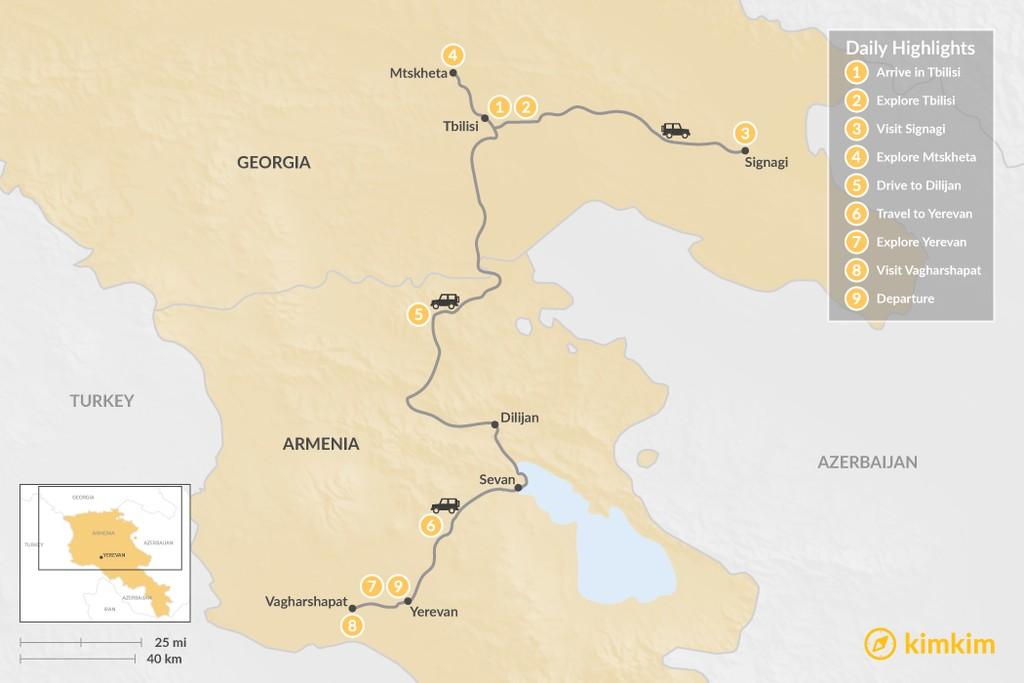Map of Armenia & Georgia Tour - 9 Days