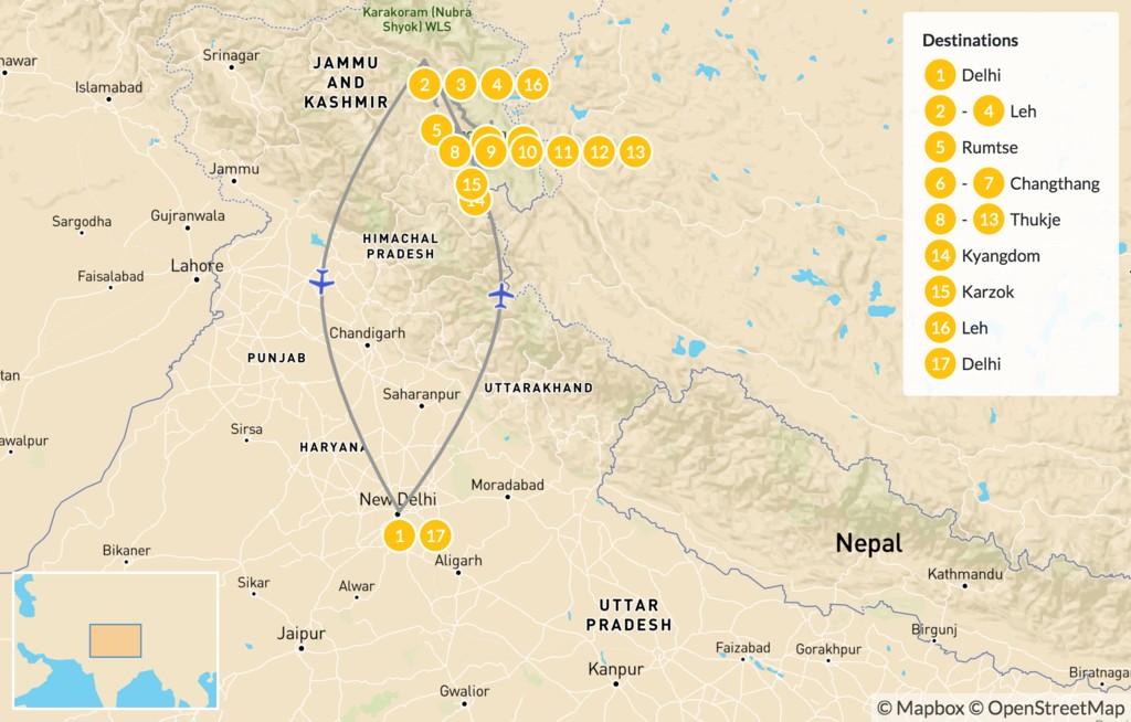 Map of North India Rupshu Tsomoriri Trek - 18 Days