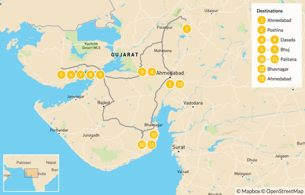Map of Hidden Treasures of Gujarat - 14 Days