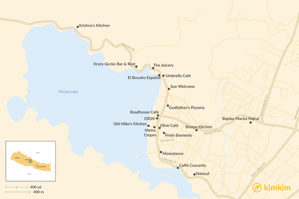 Map of Best Places To Eat & Drink in Pokhara