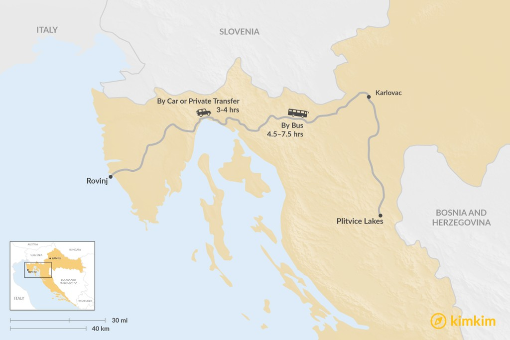Map of How to Get from Rovinj to Plitvice Lakes National Park