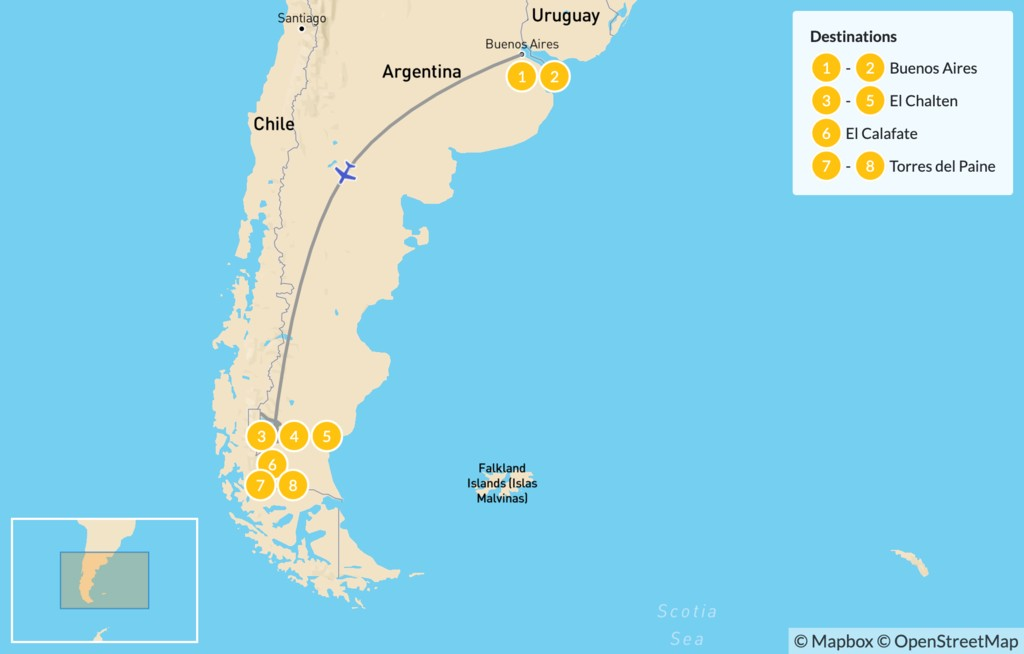 Map of Los Glaciares & Torres del Paine - 9 Days
