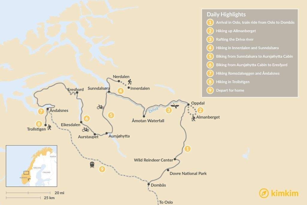 Map of Norway Fjords Multi-Sport Tour:  9-Day Itinerary