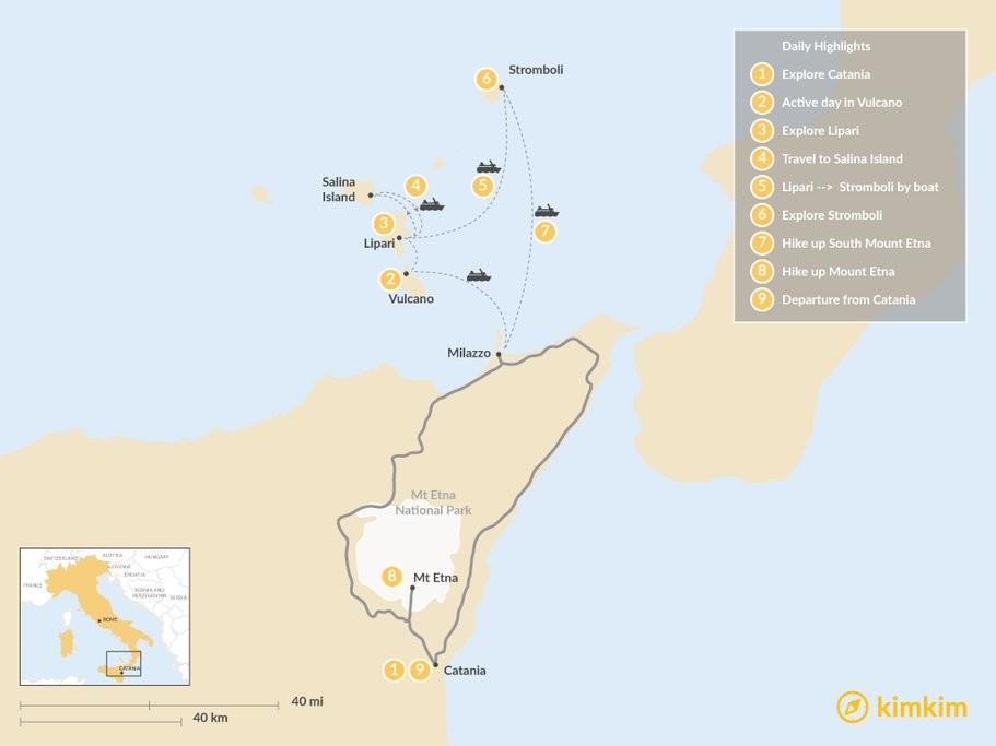 Map of Volcanoes of Sicily: Aeolian Islands & Mt. Etna - 9 Days
