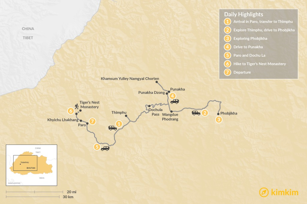 Map of Western Bhutan & Phobjikha - 7 Days