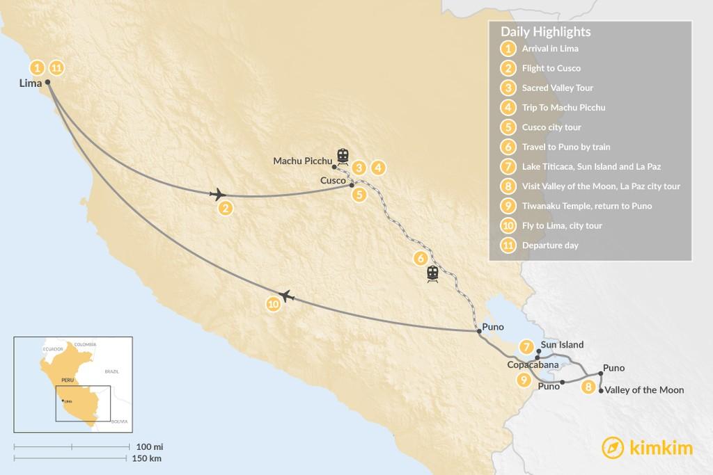 Map of Explore Peru and Bolivia - 11 Days