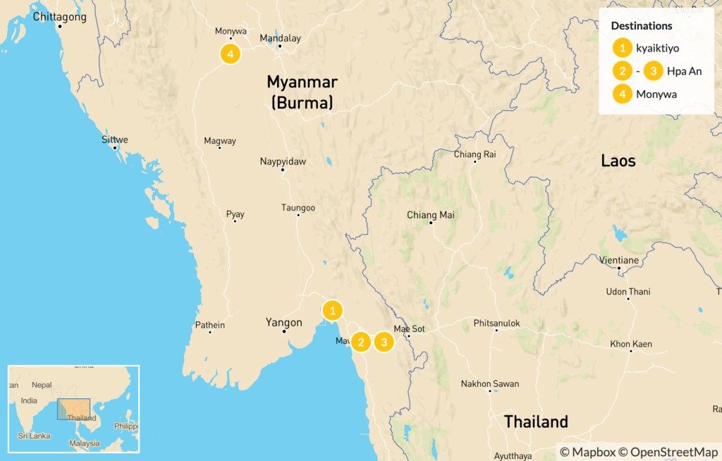 Map of Explore Buddhism in Myanmar - 15 Days