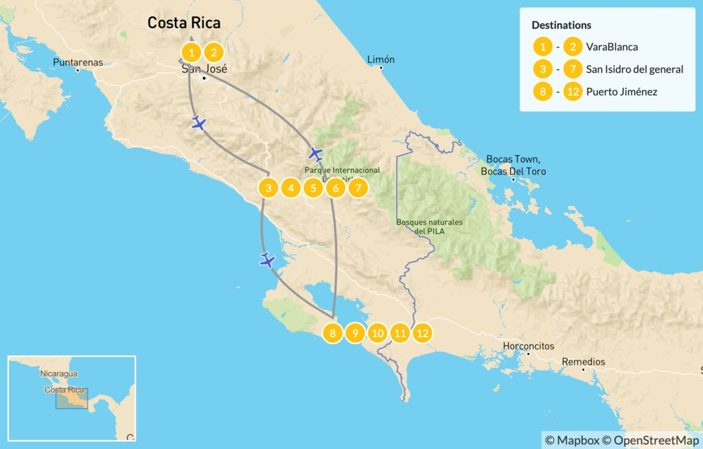 Map of Costa Rica World-Class Wildlife, Nature, and Cultural Experience  - 13 Days