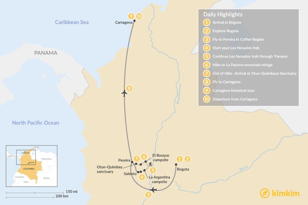 Map of Diverse Colombia: Los Nevados Trek, Bogotá, Coffee Region, and Cartagena - 10 Days
