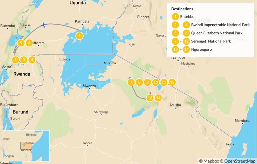 Map of Uganda & Tanzania Safari: Bwindi, Queen Elizabeth, Serengeti & Ngorongoro - 15 Days