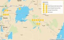Map thumbnail of Uganda & Tanzania Safari: Bwindi, Queen Elizabeth, Serengeti & Ngorongoro - 15 Days