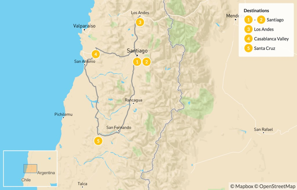 Map of Chile's Iconic Wine Valleys - 6 Days
