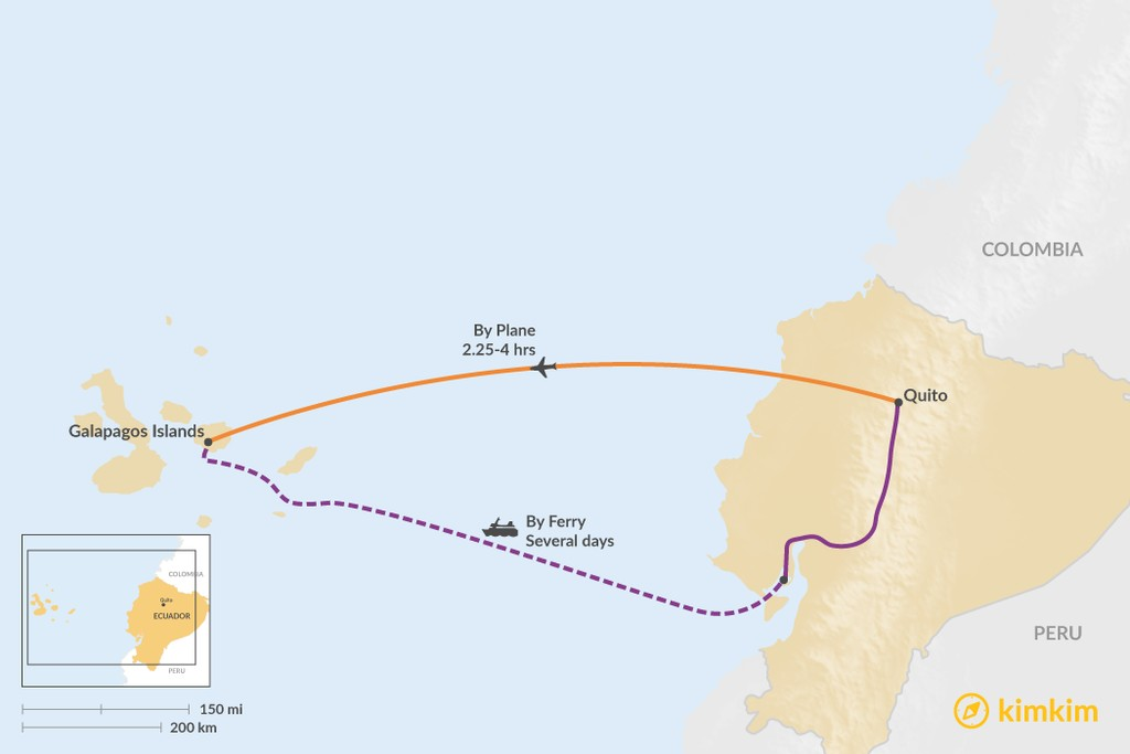 Map of How to Get from Quito to the Galapagos Islands