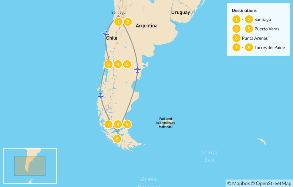 Map of Central Chile, Lake District & Patagonia - 10 Days