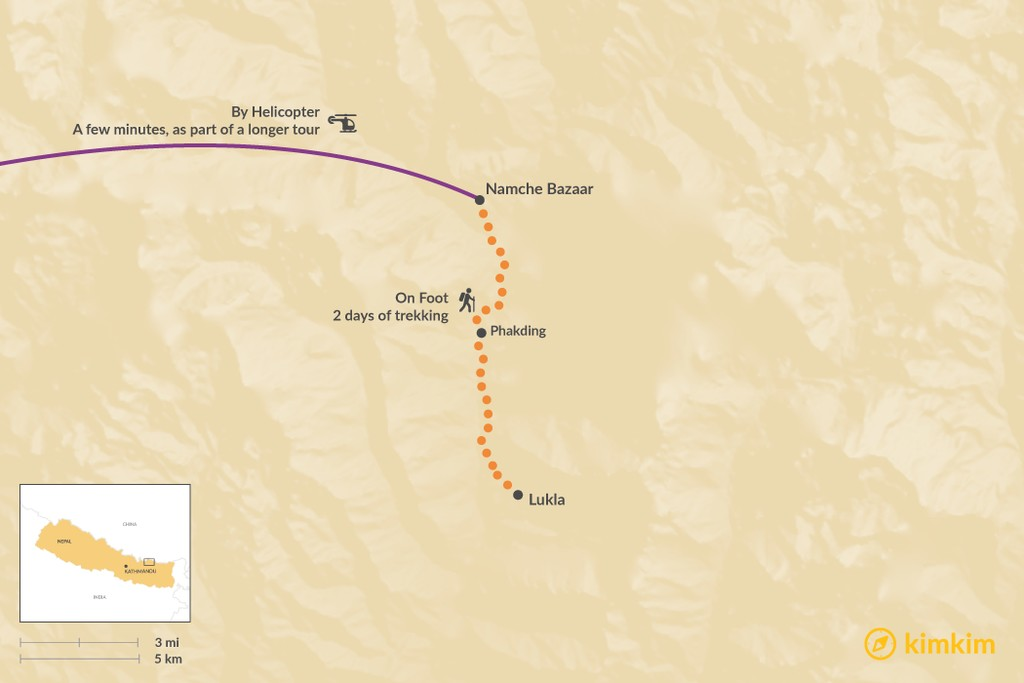 Map of How to Get from Lukla to Namche Bazaar