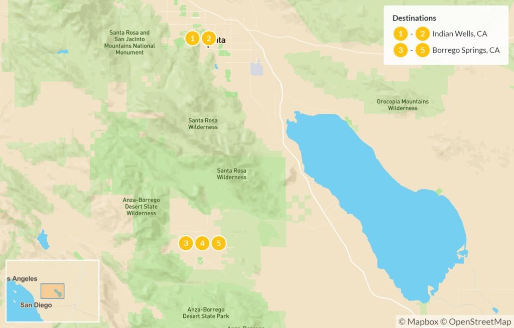 Map of Mojave Desert Bike Tour - 6 Days