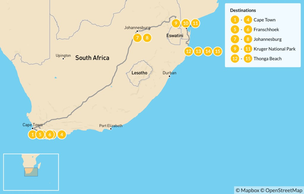 Map of Explore South Africa: Cape Town, Winelands, Johannesburg, Safari, & Beach - 16 Days