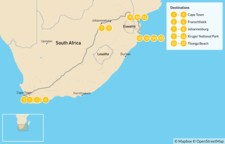 Map thumbnail of Explore South Africa: Cape Town, Winelands, Johannesburg, Safari, & Beach - 16 Days