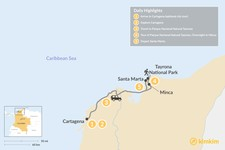 Map thumbnail of Cartagena & Tayrona Park - 5 Days