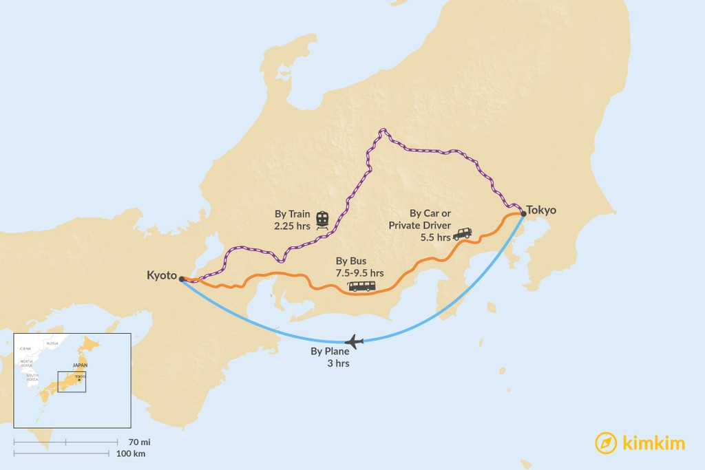 Map of How to Get from Tokyo to Kyoto