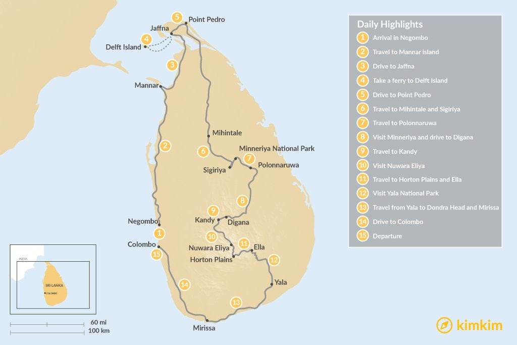 Map of Sri Lanka from North to South - 15 Days