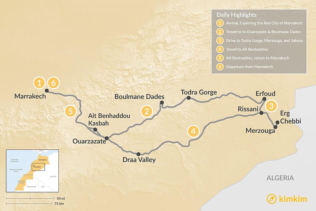 Map of Marrakech & Grand Tour of the Sahara Desert - 6 Days