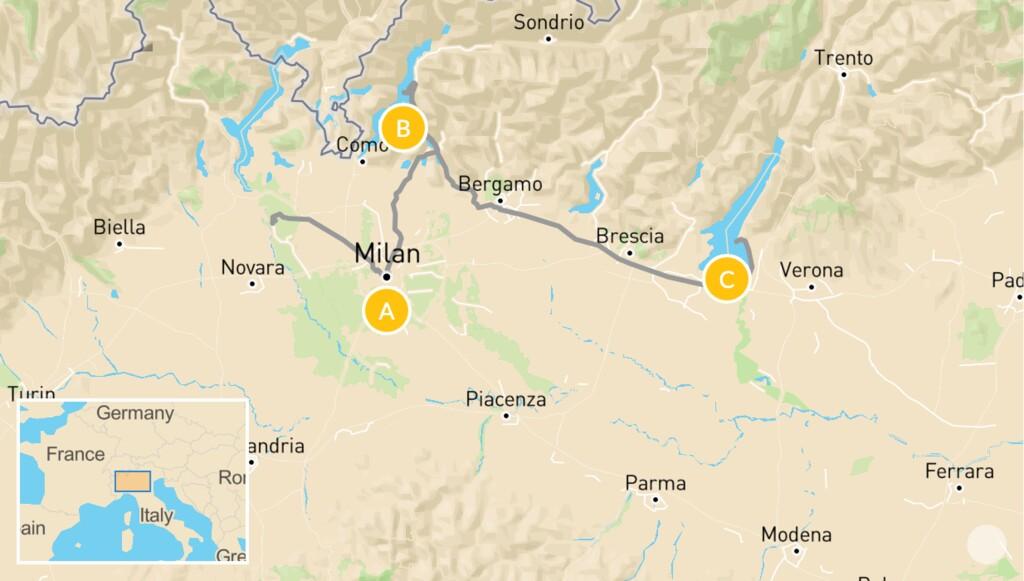 Map of Northern Italy Family Road Trip: Milan, Lake Como & Lake Garda  - 7 Days
