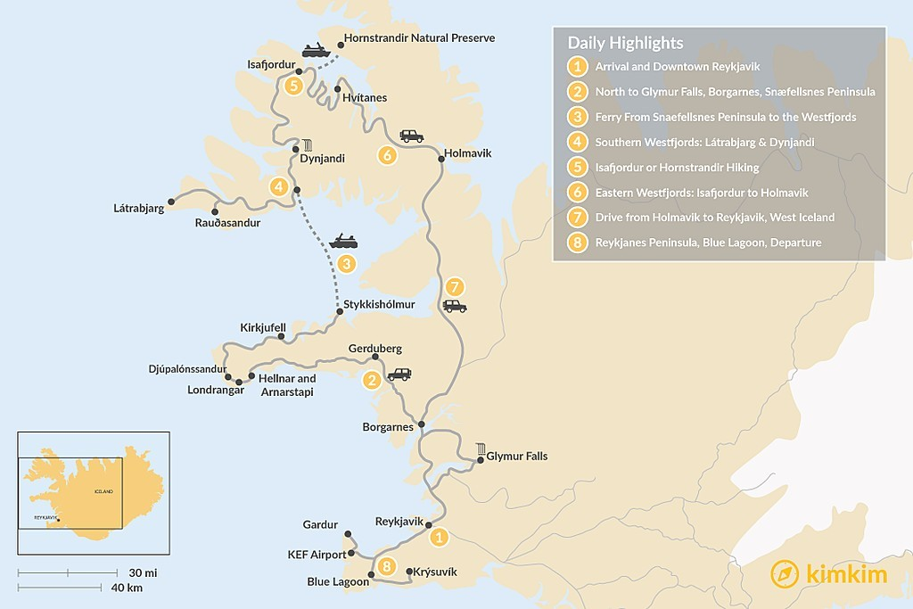Map of Best of the West: Snaefellsnes Peninsula and Westfjords - 7 Days