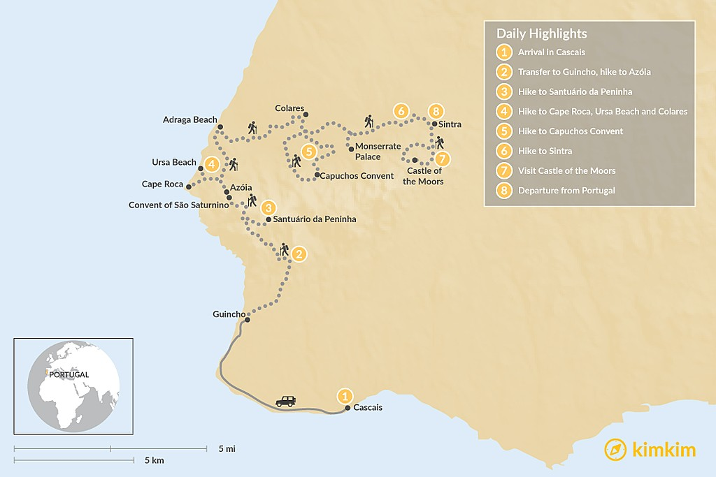 Map of Sintra Heritage & Coastal Trails - 8 Days