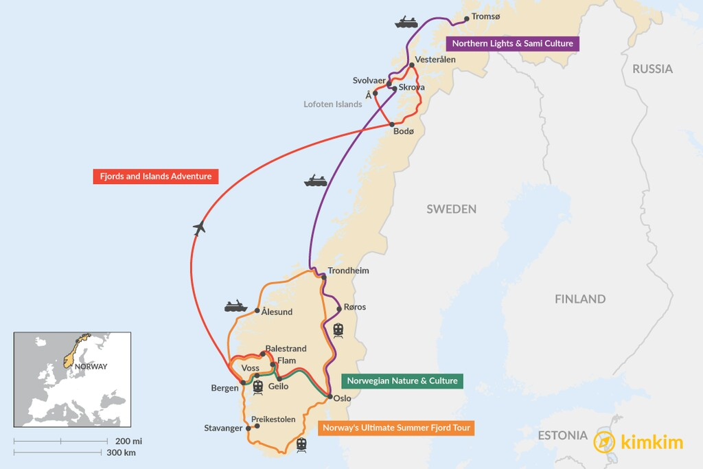 Map of 2 Weeks in Norway - 4 Unique Itinerary Ideas