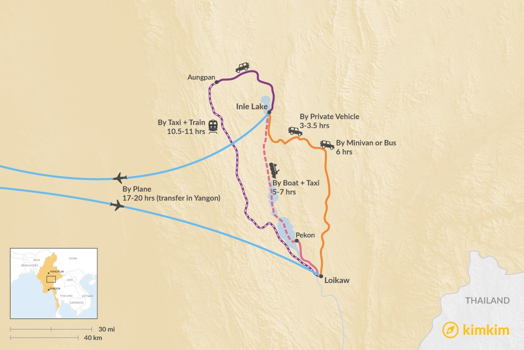 Map of How to Get from Inle Lake to Loikaw