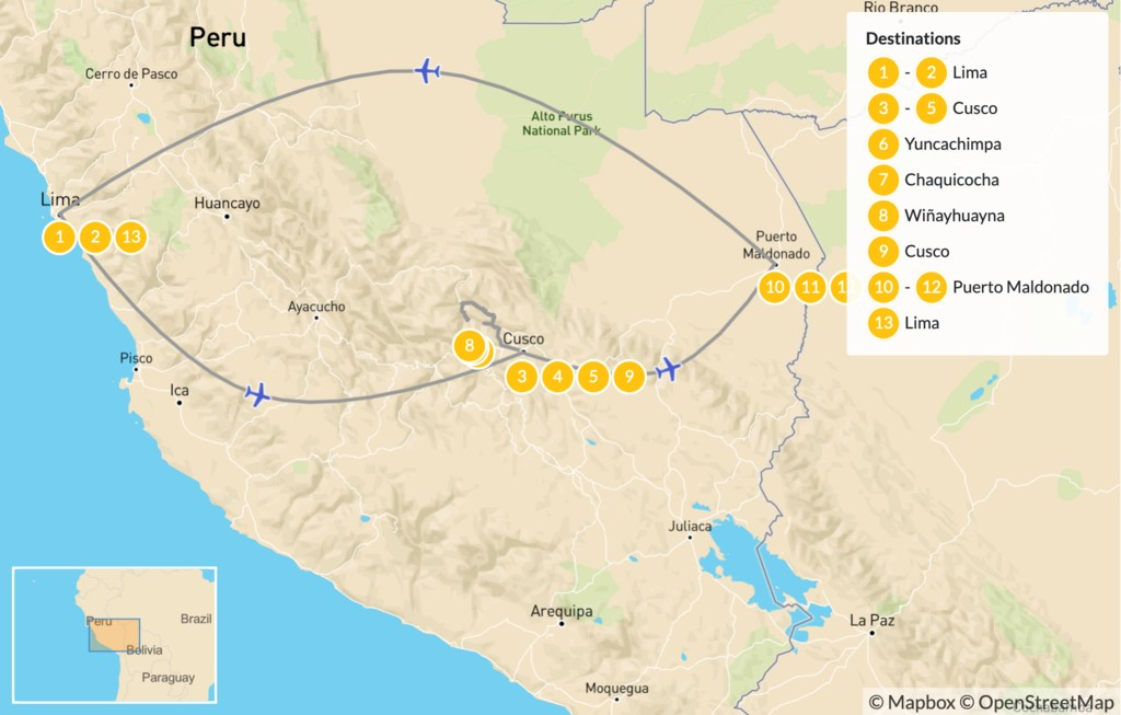 Map of Inca Trail & Amazon Excursion - 13 Days