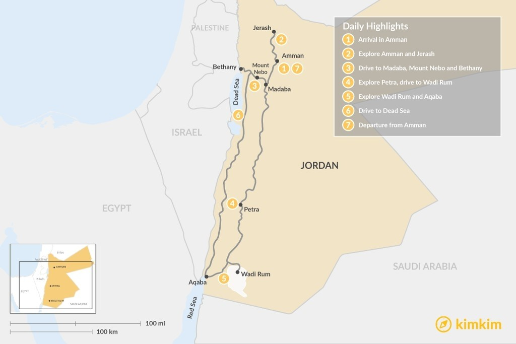 Map of Jordan in 7 Days - Amman, Jerash, Mt Nebo, Petra, Wadi Rum, Aqaba and the Dead Sea