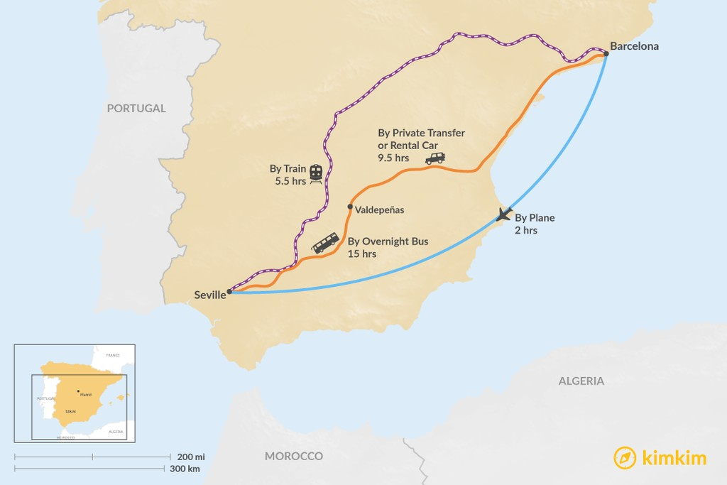 Map of How to Get from Barcelona to Seville