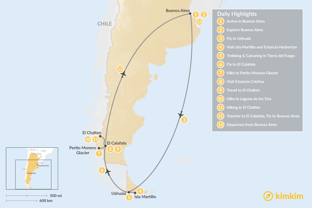 Map of Buenos Aires and Patagonia: Ushuaia, El Calafate, & El Chaltén - 13 Days