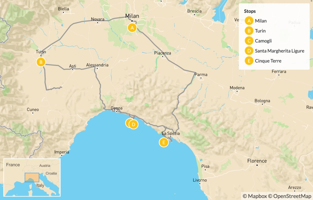 Map of Grand Cities and Classic Riviera Villages: Turin, Santa Margherita Ligure, Cinque Terre, & More - 12 Days