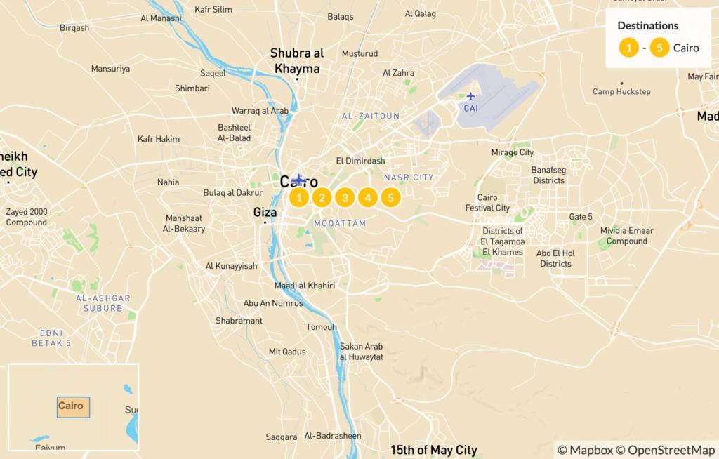 Map of Egypt Culture Tour: Cairo, Giza, & Alexandria - 5 Days