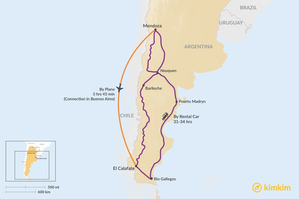 Map of How to Get from Mendoza to El Calafate