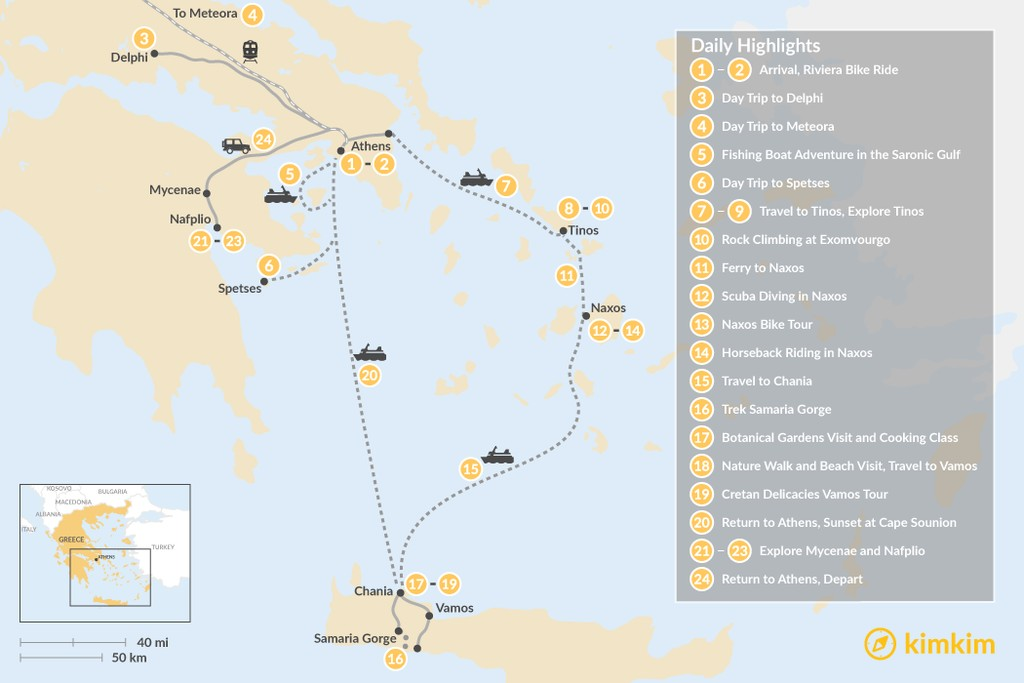 Map of Active Athens, Mainland Greece, Cyclades, and Crete - 24 Days